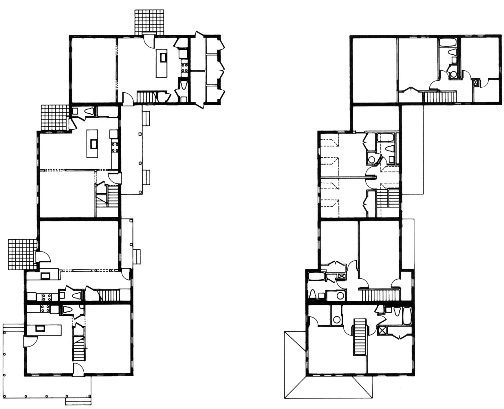 چهار واحد «خانه ی مزرعه ا ی» را تشکیل میدهندو هر واحد ورودی مجزّایی دارد و به صورت باز طراحی شده است. شرکای ؤیلیام رون.